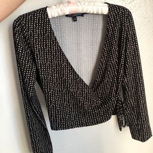 Black Polka Dot Wrap Knot Crop Top